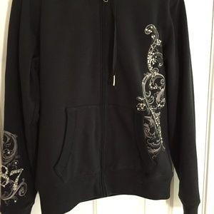 Aeropostale Women's Hooded Black Jacket-Sz. L